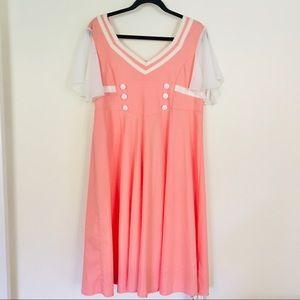 Retro Style Peach & Ivory Dress